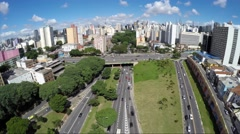 Aerial View of the Traffic on Avenue 23 de Maio in Sao Paulo, Brazil - stock footage