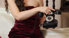 Stock Video Footage of Woman reject a phone call on vintage phone