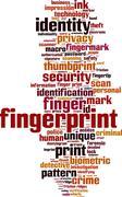 Fingerprint word cloud - stock illustration