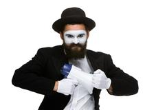 Mime as business man with a megaphone Stock Photos