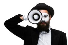 mime as business man with a megaphone - stock photo