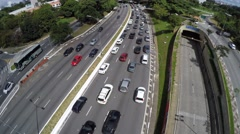Aerial View of the Traffic on Avenue 23 de Maio in Sao Paulo, Brazil Stock Footage