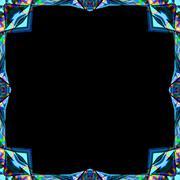 Colored abstract blue futuristic metal ornamental frame with rainbow splash f Stock Illustration