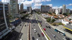 Aerial View in the Famous Avenue in Sao Paulo, Brazil Stock Footage