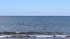 Beach Activities - Paddle Board -Ocean and Sky Stock Footage
