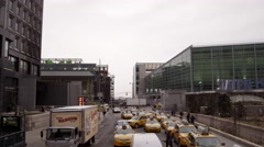 Staten Island Ferry West Side Highway taxis cars traffic people walking NYC 4K Stock Footage