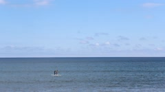 Ocean Panorama with Paddle Boards / Surf boards - stock footage