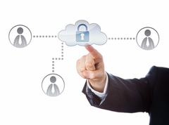 Right Arm Reaching To A Locked Cloud Network Icon Stock Illustration