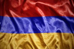 Shining armenian flag Stock Photos
