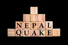Words NEPAL QUAKE Stock Photos