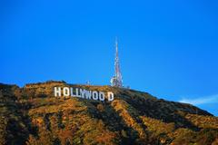 Hollywood sign on the hill in California valley - stock photo