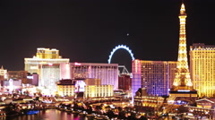 Beautiful Las Vegas skyline at night, time lapse Stock Footage