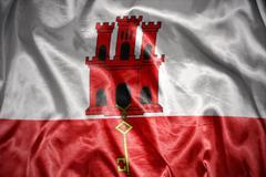 shining gibraltar flag - stock photo