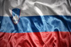 shining slovenian flag - stock photo