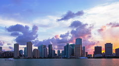 Beautiful sunset over Miami, time lapse Stock Footage
