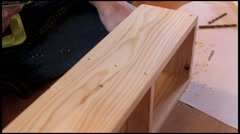 Wood work with drill, tools and worker Stock Footage