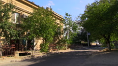 Sunny autumn day in Sevastopol. Old Courtyard in old town. Crimea, Fall 2014. Stock Footage