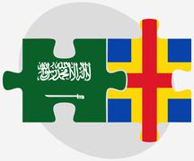 Saudi Arabia and Aaland Islands Flags in puzzle Stock Illustration