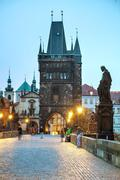 Charles bridge early in the morning - stock photo
