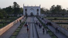 Aerial view of tourists walking through the courtyards of Taj Mahal. Stock Footage
