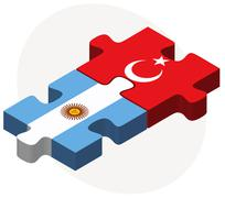 Argentina and Turkey Flags in puzzle Stock Illustration