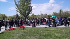 People going to commemorate the victims of Armenian genocide Stock Footage