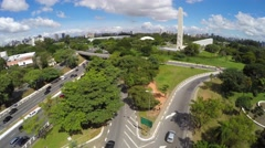 Aerial View of Obelisk and Ibirapuera Park of Sao Paulo city, Brazil Stock Footage