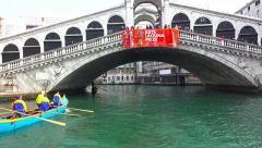 Stock Video Footage of 4K Pov gondola ride timelapse under Rialto bridge