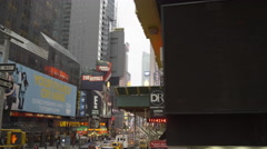 Times Square street and I Love NY shirts in window display in slow motion 4K NYC - stock footage