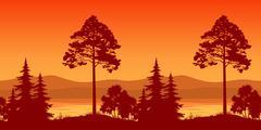 Seamless Landscape, Trees on Bank of Mountain Lake - stock illustration