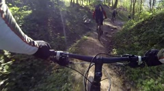 2015 group mountain bike rider forest agcs Stock Footage