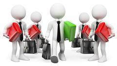 3D white people. Entrepreneur. Leader. Businessman Success Stock Illustration