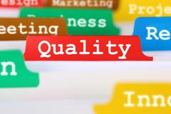 Quality control and management register in business concept service documents Stock Photos