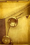 Old postcard with one luxury old car - stock photo