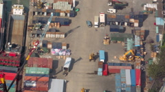Work activity on container terminal site. Time lapse aerial video shot Stock Footage