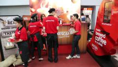 Advertising campaign of a new kind of product Nescafe, Kuala Lumpur Stock Footage