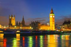 London with the Clock Tower and Houses of Parliament Stock Photos