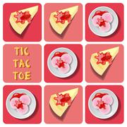 Tic-Tac-Toe of ice cream and crepe cake Stock Illustration