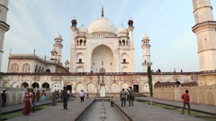 View on the fronts of Taj Mahal, close up. Stock Footage