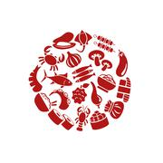asian food icons in circle - stock illustration