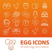 Outline egg icons Stock Illustration