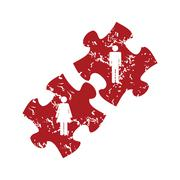 Red grunge love puzzle logo Stock Illustration