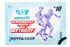 Post stamp printed USSR, football, soccer, World Cup 1986 Mexico Stock Photos