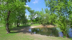 Lake in Zagreb park Bundek Stock Footage