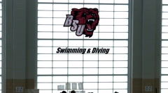 College swimming & diving mascot Stock Footage