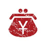 Red grunge yen purse logo Stock Illustration
