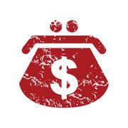 Red grunge dollar purse logo - stock illustration