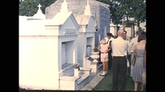Vintage 16mm film, New Orleans cemetery, above ground crypts, 1960 Stock Footage