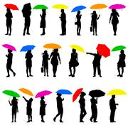 Stock Illustration of Set   silhouettes of men and women with umbrellas. Vector illustration.