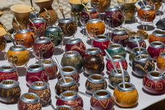 Argentine souvenirs - gourds and bombillas Stock Photos